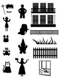 Work, Pleasure & fantasy - Vector silhouettes. Set of celebration, everyday & fantasy silhouettes - Vector Royalty Free Stock Photos