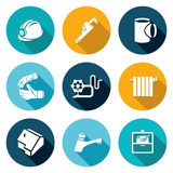 Work plumber at home Icons Set. Vector Illustration. Royalty Free Stock Images