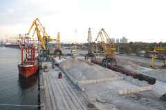 daily work in the port with cargoes Royalty Free Stock Photography