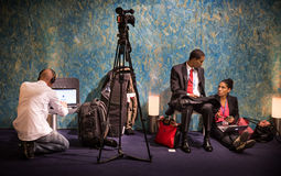 Work of press during UN Conference on Climate Change Royalty Free Stock Photos
