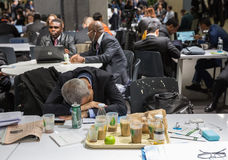 Work of press during UN Conference on Climate Change Stock Photo