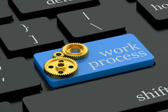Work process concept on keyboard button Stock Image