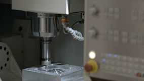 The work process of the milling CNC machine stock footage