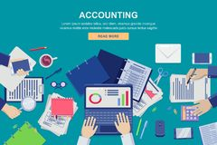 Work process in office, vector top view illustration. Accounting, business data analysis and financial audit concept. Work process in office, vector flat top vector illustration
