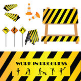Work in progress. Construction warning signs, design elements Stock Image
