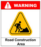 Work in progress banner. Vector illustration of road construction area sign in yellow triangle isolated on white. Warning sticker for public places and road royalty free illustration