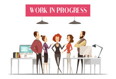 Work In Progress Cartoon Style Design. Work in progress design in cartoon style with group of men and women in office vector illustration Royalty Free Stock Images