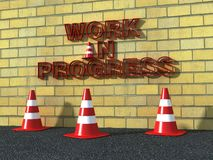 Work in progress logo. 3d red write on yellow brick wall and traffic cone on asphalt Royalty Free Stock Photo