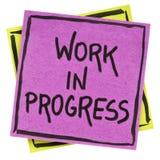 Work in progress note Stock Photos