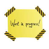 Work in progress post it. Yellow post it sheet with hand written text for work in progress, to post on your web site Royalty Free Stock Photography