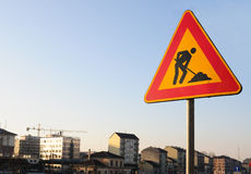 Work in progress road sign Stock Photo