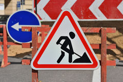 Work in progress. Roadworks Royalty Free Stock Photography