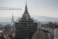 Work in progress in Turin. A view of Turin from above Royalty Free Stock Photo