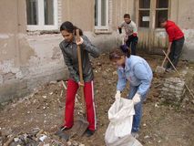The work of pupils on the school grounds in the Kaluga region in Russia. Stock Photos