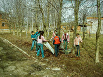 The work of pupils on the school grounds in the Kaluga region in Russia. Royalty Free Stock Image