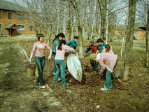 The work of pupils on the school grounds in the Kaluga region in Russia. Royalty Free Stock Images