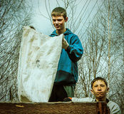 The work of pupils on the school grounds in the Kaluga region in Russia. Stock Images