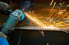 Workquand machinede meulagede sparkde thePhotos stock