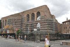 Work by reconstruction of Basilica di Massenzio Royalty Free Stock Photography