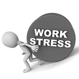 Work related stress. Work stress word on a heavy roller, barely held in place by a little man Royalty Free Stock Photos