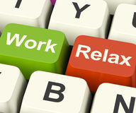 Work Relax Keys Showing Decision To Take A Break Or Start Retire Royalty Free Stock Photo