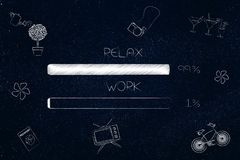 Work and relax percentage bars surrounded by leisure objects wit. Time management and procrastination concept: work and relax percentage bars surrounded by Royalty Free Stock Images