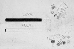 Work and relax percentage bars surrounded by office and leisure. Time management and procrastination concept: work and relax percentage bars surrounded by office Stock Image