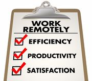 Work Remotely Advantages Checklist Stock Photo