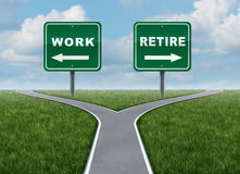 Work Or Retire. As a concept of a difficult decision time for working or retirement as a cross roads and road sign with arrows showing a fork in the road Stock Image