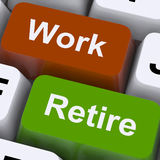 Work Or Retire Signpost Shows Choice Of Working Or Retirement Stock Photo