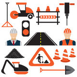 Work,road works flat design icons Royalty Free Stock Image