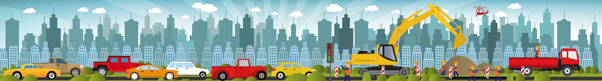 Work on roads (Traffic jam). Vector illustration of work on roads (Traffic jam royalty free illustration