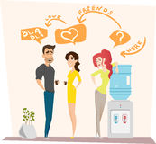 Work romance between two colleagues. Vector illustration. Characters scene. Teamwork in modern business office. Work romance between two colleagues. Co-working Royalty Free Stock Images