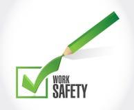 Work safety check mark concept illustration. Design over white Stock Photo