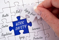 Work Safety Concept Puzzle. With female hand and text Stock Image