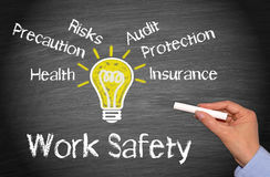 Work Safety Concept. Work Safety - success concept chalkboard with female hand and light bulb royalty free stock photography