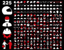 Work Safety and Helmet Icon Set Royalty Free Stock Photos