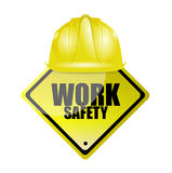 work safety helmet and sign concept Stock Images