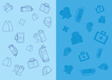 Work safety icons. Work safety related icons on blue background Royalty Free Stock Images