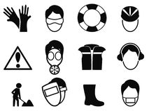 Work safety icons set Royalty Free Stock Photos