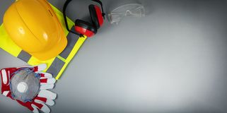 Free Work Safety Items Of Construction Industry On Gray Background With Copy Space Royalty Free Stock Photo - 150312825