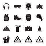 Work safety, protection equipment icons set Stock Photography