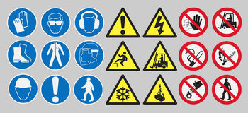 Work safety signs. Vector pack of different work safety signs stock illustration