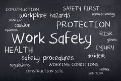 Work Safety Workplace Safe First Word Cloud Concept Stock Photos