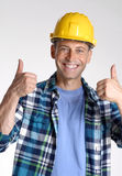 Work satisfaction. Young and happy construction worker portrait Stock Images