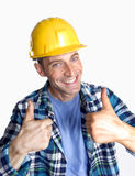 Work satisfaction. Young and happy construction worker portrait Stock Image