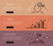 Work. Save. Succeed. Line vector web banners set Royalty Free Stock Photo
