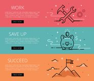 Work. Save Up. Succeed. Flat line vector web banners set Stock Photography
