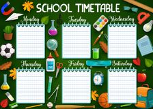 Work schedule on whole week, school stationery. School timetable, stationery items and days of week, spare lines to write notes. Vector backpack and magnifier vector illustration
