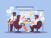 Work schedule, working environment. Successful team in office. Vector illustration Stock Images
